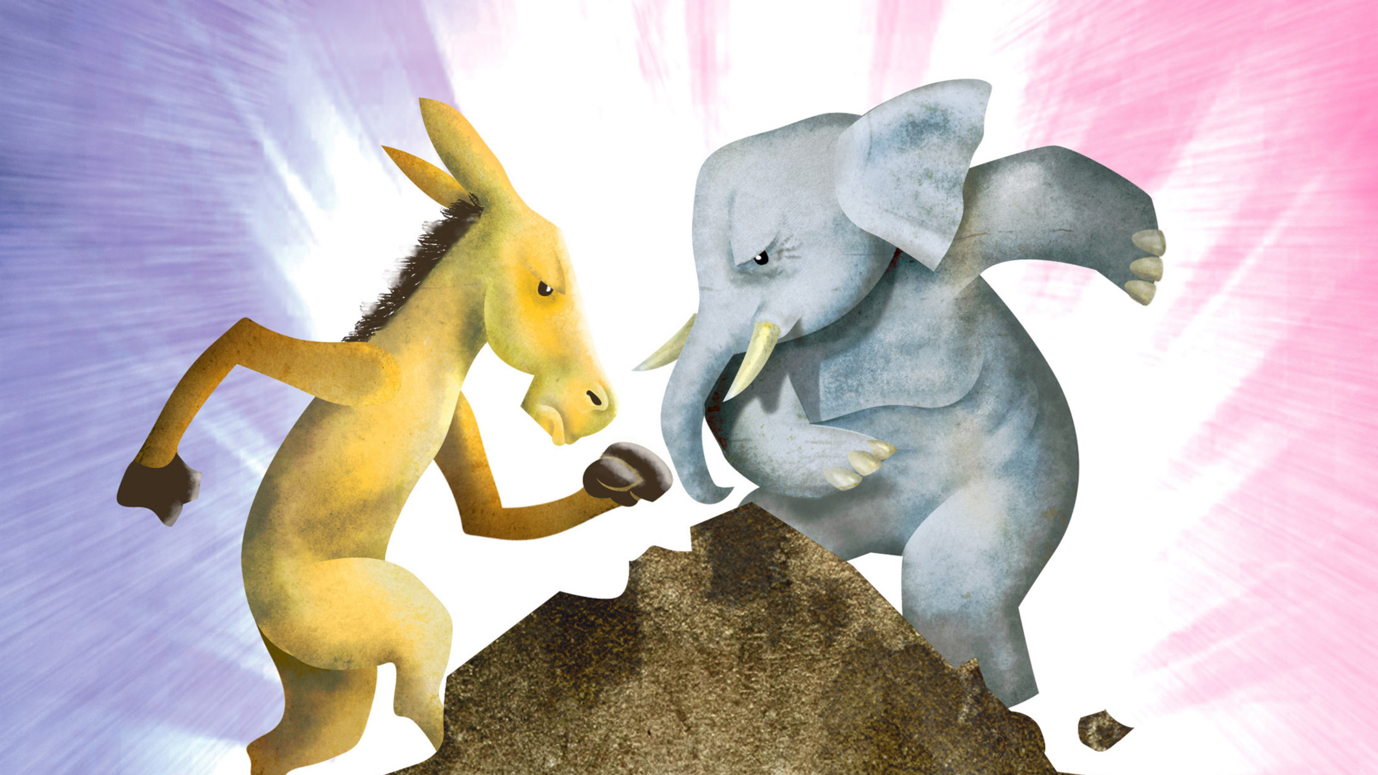 "Hector Casanova illustration of the Democrat donkey fighting it out with the Republican elephant on top of the so called ""fiscal cliff."""