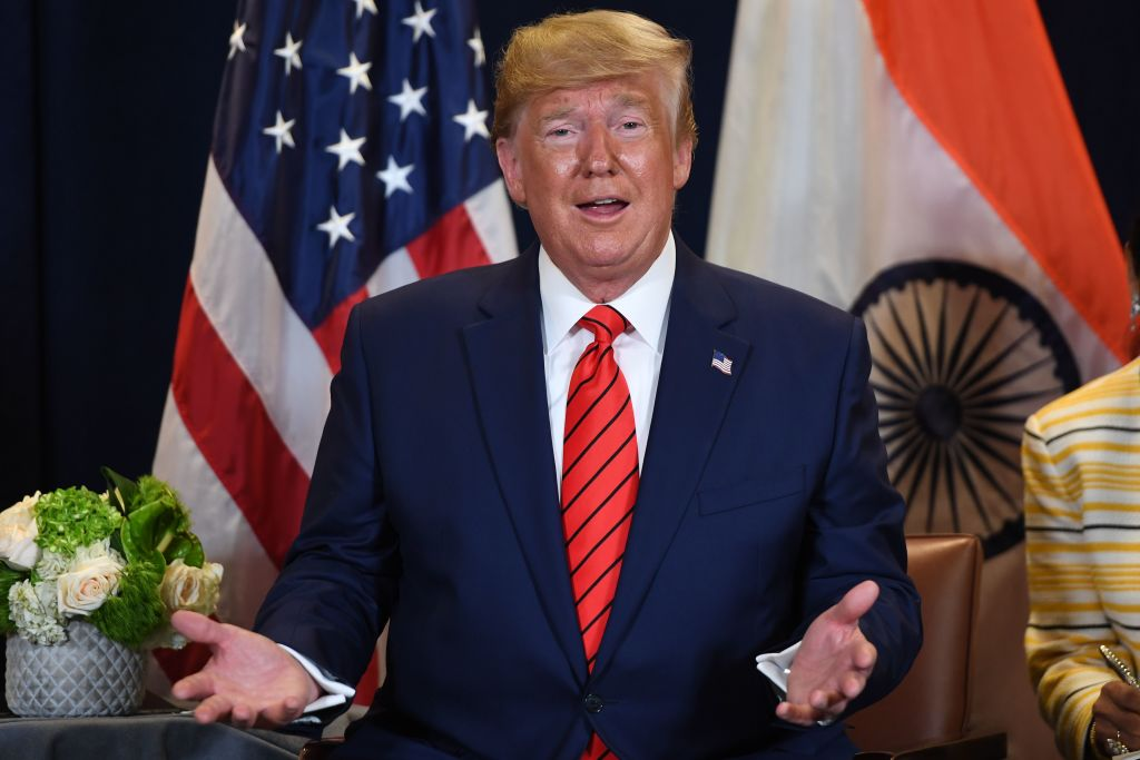President Donald Trump attends a meeting with Indian Prime Minister Narendra Modi