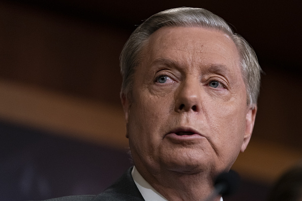 Senator Lindsey Graham, a Republican from South Carolina, speaks during a press conference on Capitol Hill in Washington, D.C., U.S., on Thursday, Oct. 17, 2019. Grahamis proposing a prohibition on anyone in the U.S. from buying Turkey's sovereign debt, according to the framework of the sanctions bill, as lawmakers aim to escalate pressure on the Turkish government over its actions in Syria.